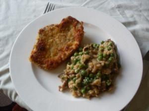 Phesant Shnitzel,mushroom pea rissoto.